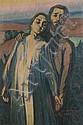 ƒ ANDRE LHOTE (1885 - 1962)  Les fiancés, 1908 Huile sur toile Dédicacée, titrée et datée