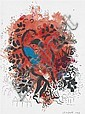 MARC CHAGALL (1887 - 1985)  Amoureux dans bouquet rouge, 1958 Gouache, encre et pastel sur papier Signée et datée en bas à droite 28...