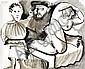 Pablo Picasso (1881 - 1973)  Femme et deux personnages, 1970 Encre et lavis d'encre sur papier Signée et datée