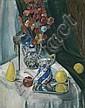 HENRI EPSTEIN (1891 - 1944) Nature morte au bouquet et aux fruits Huile sur toile Signée en bas à droite 63 x 49,5 cm - 24 3/4 x 19 ...