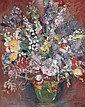 JEAN-GABRIEL DOMERGUE (1889 - 1962)  Bouquet de fleurs Huile sur toile Signée en bas à droite 80 x 65 cm - 31 1/2 x 25 1/2 in