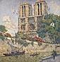 Joseph LEPINE (1867 - 1943)  Vue de Notre Dame Huile sur panneau Signée en bas à droite 57 x 55 cm - 22 3/8 x 21 5/8 in