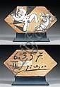 Pablo Picasso (1881 - 1973)  Deux personnages, 1957 Huile sur carreau hexagonal en terre chamottée Signée et datée 6