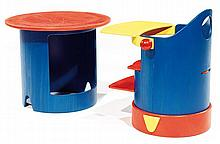 STUDIO BÖHM. A multifonction multicolored plywood chair, the highchair can be splited into a chair and a table, circa 1990. Total Heigh