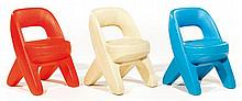 STEP 2 .A set of three polypropylene X-shaped chairs, circa 1980. Height. 19 1-4 in. - Width. 13 3-8 in. Depth. 13 3-8 in.
