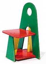 A geometrical multicolored strong cardboard chair, circa 1980. Height. 22 in. - Lenght. 15 3-4 in. - Depth. 14 1-8 in.