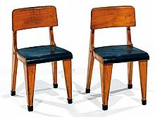 TRAVAIL HOLLANDAIS A beech and blue laminate pair of chairs, circa 1950. Height. 22 in. - Width. 11 3-8 in. - Depth. 11 3-8 in.RRWi