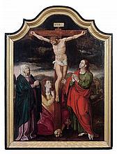 École FLAMANDE vers 1580, suiveur de Joos Van CLEVE La Crucifixion entre saint Jean, La Vierge et Marie-Madeleine, panneau central d...