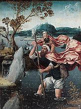 École des PAYS-BAS SEPTENTRIONAUX du XVIesiècle, entourage de Jan WELLENS de COCK Saint Christophe Panneau de chêne, une planche, no...