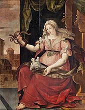 École FLAMANDE vers 1600, suiveur de Frans FLORIS Allégorie de l'innocence et de la prudence Panneau de chêne, deux planches, non pa...