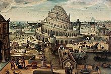 Attribué à Abel GRIMMER (vers 1570-avant 1619) La Tour de Babel Panneau de chêne, parqueté Oak panel, cradled 53 x 78cm (20 13/16 IN