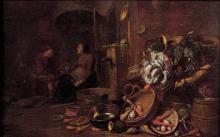 Frans RYCKHALS (Middleburg vers 1600-1647) Intérieur de cuisine Panneau de chêne, une planche, non parqueté Oak panel, one plank, no...