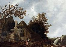Govert CAMPHUYSEN (Gorkum 1623-Amsterdam 1672) Paysage à la chaumière Panneau de chêne, deux planches, non parqueté Oak panel, two p...