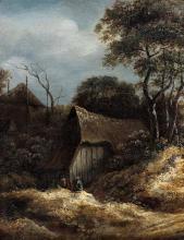 Attribué à Roelof Van VRIES (1630/1631-après 1680) Chaumière dans un paysage Panneau de chêne, une planche, non parqueté Oak panel, ...