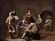 """Jan OLIS (Gorkum 1610-Hensden 1676) Les joueurs de cartes Panneau de chêne, parqueté Oak panel, cradled. Sticker """"n°1055"""" on the bac..."""