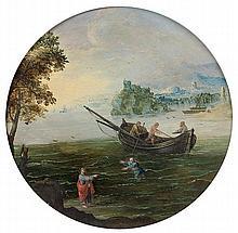 Martin RYCKAERT (Anvers 1587-1631) Le Christ appelant Pierre sur les eaux Panneau de chêne circulaire, parqueté Circular oak panel, ...