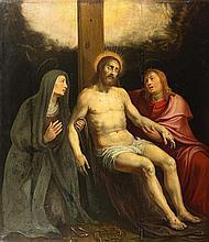 Attribué à Otto van VEEN (1558-1629) Déploration du Christ Panneau de chêne, trois planches, renforcé Oak panel, three planks, cradl...