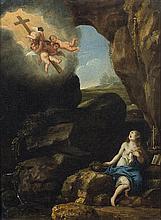 Attribué à Cornelis POELENBURGH (vers 1586-vers 1667) Madeleine en extase dans un paysage de grotte Panneau de chêne, une planche, n...