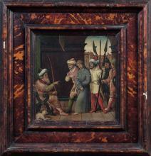 École de PROVENCE vers 1515 La présentation du Christ à Caïphe Panneau de chêne, parqueté Oak panel, cradled 27,5 x 25cm (10 3/4 IN....