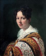 Horace VERNET (Paris 1789-1863) Portrait de jeune femme au châle de cachemire Sur sa toile d'origine On original canvas