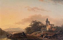 Attribué à Gérard de NYMEGEN (1735-1808) Paysage de ruines animées de personnages en bordure de rivière Panneau de chêne, une planch...