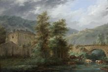 Attribué à Louis-Gabriel MOREAU dit MOREAU l'AÎNE (1740-1806) Berger et son troupeau aux abords d'une rivière sous un pont Panneau d...