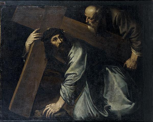Attribué à Francisco de RIBALTA (1565 - 1628) Simon de Cyrene portant la croix du Christ Toile agrandie sur trois côtés 98 x 120,5 c...
