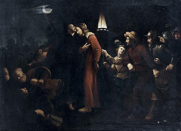 Attribué à Trophime BIGOT (1579 - 1650) Le baiser de Judas Toile 97 x 135 cm Au revers de la toile, un numéro à l'encre : 1306 Resta...