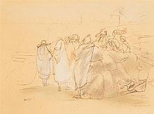EDY-LEGRAND (1892-1970) CHARGEMENT DE LÉGUMES SUR L'ÂNE Dessin à la plume sur papier bistre rehaussé de crayon de couleurs, signé en...
