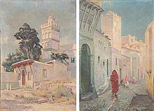 GUSTAVE LEMAÎTRE (1860-1920) RUE SIDI RAMDAN, Deux huiles sur toile, chacune signée en bas à gauche