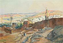 Henri PONTOY (1888-1968) LES REMPARTS DE FEZ Huile sur toile signée en bas à gauche. 60 x 85cm