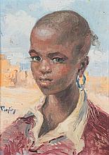 HENRI PONTOY (1888-1968) JEUNE FILLE À LA BOUCLE D'OREILLE Huile sur panneau signé en bas à gauche