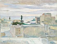 ÉCOLE ORIENTALISTE (XXe siècle) LES TERRASSES DE FEZ Au dos, un paysage aux grands arbres. Huile sur toile portant une signature
