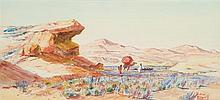 ÉDOUARD HERZIG (1860-1926) CHAMELIER EN ALGÉRIE Aquarelle sur papier signé, situé