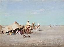 INOËL (XIXe-XXe siècle) CAMPEMENT DANS LE DÉSERT Huile sur toile signée en bas à droite. 48,5 X 65cm