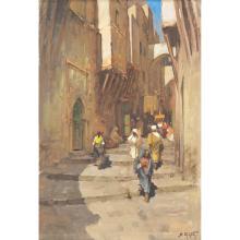 DARIO MECATTI (1909-1976) PROMENEURS DANS LA CASBAH Huile sur toile signée en bas à droite. 81 x 55cm
