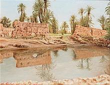 CHARLES PRELAT (début XXE SIÈCLE) PALMERAIE À MARRAKECH Huile sur carton signé, situé et daté