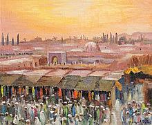MARGUERITE ALLAR (1899-1974) PLACE JEMÂA EL-FNA Huile sur toile signée en bas à droite