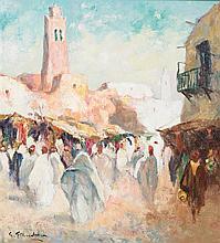 GUSTAVE FLASSCHOEN (1868-1940) SOUK MAROCAIN Huile sur toile signée en bas à gauche