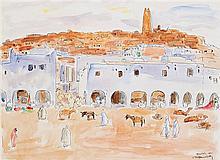 MAURICE BOUVIOLLE (1893-1967) GHARDAÏA Plume et aquarelle sur papier signé, situé et daté