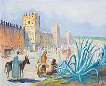 SOLANGE MONVOISIN (1911-1986) MARCHÉ DEVANT LES REMPARTS Huile sur toile signée en bas à droite