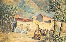 GASTON BALANDE (1880-1971) SCÈNE MAROCAINE Huile sur panneau signé en bas à gauche
