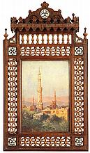 PAOLO FORCELLA (Né EN 1868) VUE DE MINARETS Huile sur toile marouflée sur carton signée en bas à gauche
