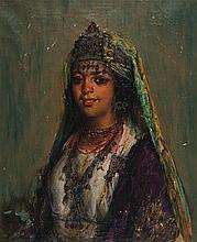 ALPHONSE BIRCK (1859-1942) ORIENTALE AUX BIJOUX Huile sur toile signée en bas à gauche. (Manques et soulèvements). 46 x 38cm