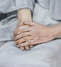 TIM EITEL (né en 1971) Untitled (Hands), 2013 Oil on canvas mounted on wood 61/4 x 53/4