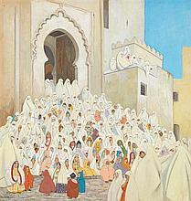 MARGUERITE BARRIÈRE-PRÉVOST (1887-1981) FÊTE DES ENFANTS À SALÉ CHILDREN GATHERING AT SALÉ Gouache sur papier marouflée sur carton s...