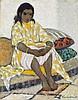 MARGUERITE BARRIÈRE-PRÉVOST (1887-1981) JEUNE FILLE EN JAUNE YOUNG GIRL IN YELLOW Huile sur toile signée en bas à droite. Au dos cac...
