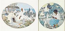 MARGUERITE BARRIÈRE-PRÉVOST (1887-1981) CIMETIÈRES FLEURIS FLOWERY CEMETERIES Deux gouaches sur papier de forme ovale, l'une signée ...