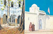 MARGUERITE BARRIÈRE-PRÉVOST (1887-1981) - PATIO À ALGER - RENCONTRE DANS UNE RUE D'ALGER PATIO IN ALGIERS MEETING IN AN ALGERIAN STR...