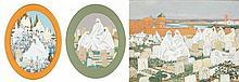 MARGUERITE BARRIÈRE-PRÉVOST (1887-1981) VENDREDI AU CIMETIÈRE FRIDAY AT THE CEMETERY - Deux gouaches sur papier de forme ovale signé...